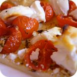 Tomaten-Ziegenkäse-Tarte nach dem Backen