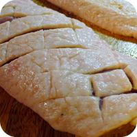Balsamicosauce mit Herzoginnenkartoffeln und Bohnen im Speckmantel - Entenbrust, roh