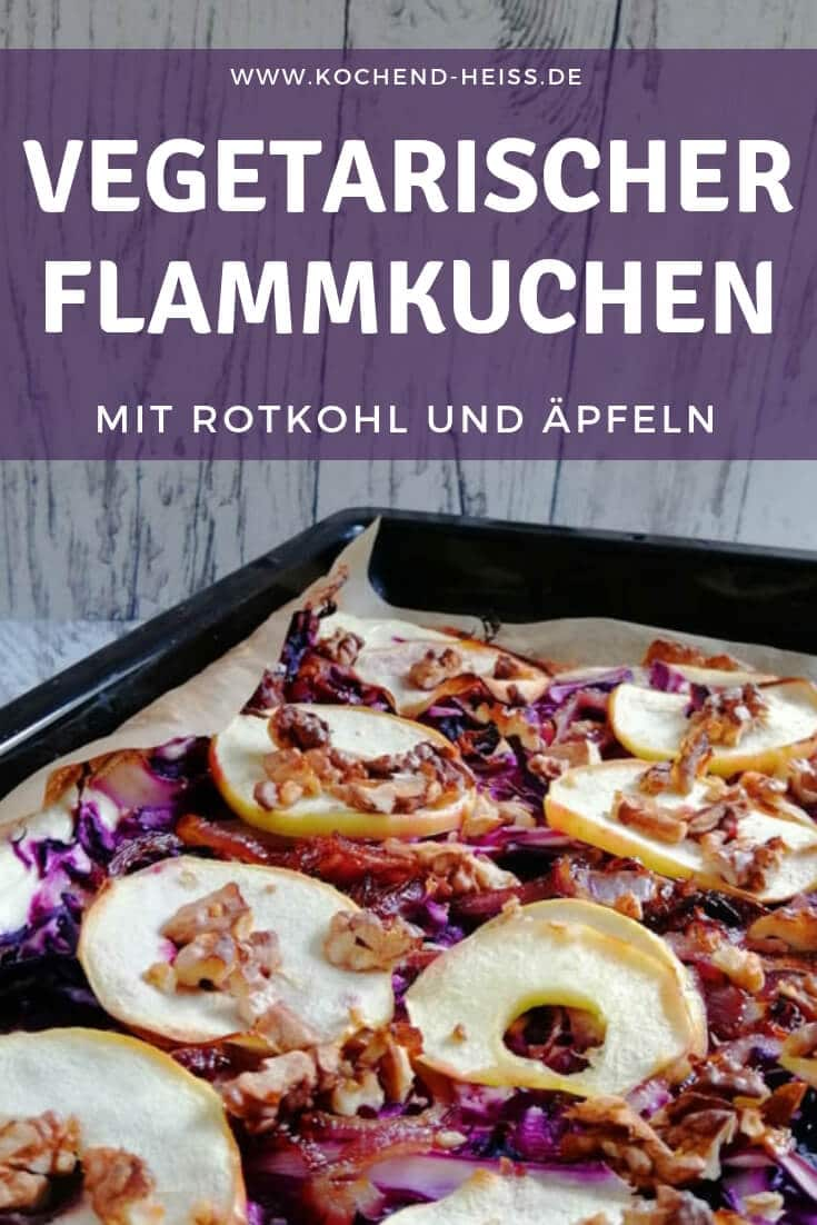 Flammkuchen vegetarisch: mit Rotkohl und Äpfeln