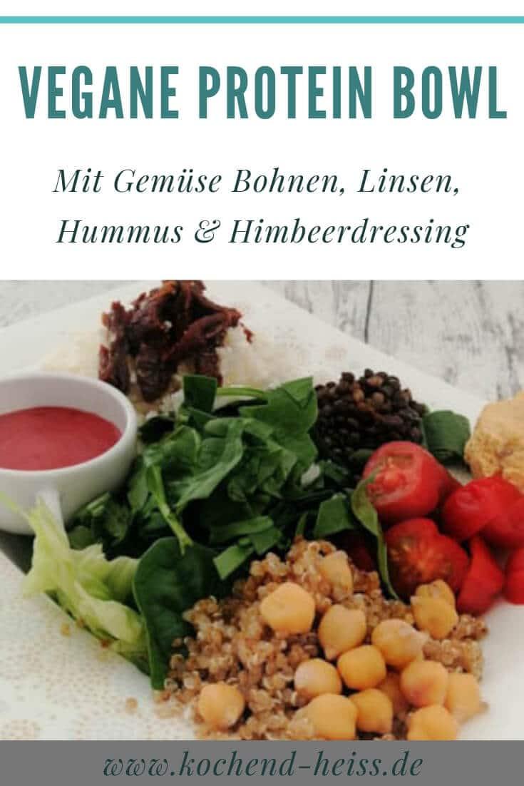 Gemüse Bowl zum Mittag mit Linsen, Quinoa und Kichererbsen Pinterest